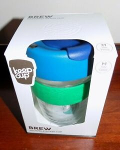 REUSEABLE KEEPCUP  BREW 12oz FLORA   GLASS COFFEE CUP - TRAVEL SILICONE GRIP