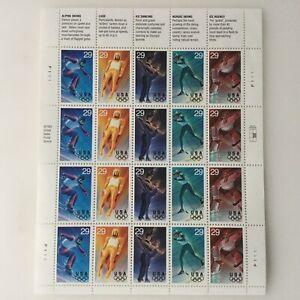 Stamp US Sc 2807-11 Sheet 1994 Winter Olympics Slalom Skiing Luge Hockey MNH