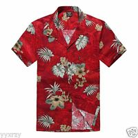 Men Aloha Shirt Cruise Tropical Luau Beach Hawaiian Party Red Palm Hibiscus