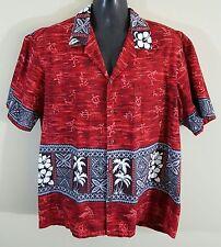 Winnie Fashion Men's Red Short Sleeve Button Hawaiian Shirt (2XL) Made In Hawaii