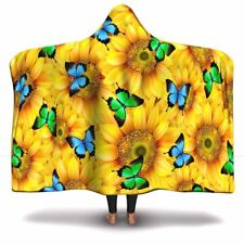 Sunflower Butterfly Lover Hooded Throw Blanket For Childrens And Adults