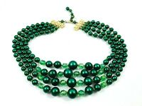 Vintage Green Bead Necklace Faux Pearls Glass Crystals Four Strands