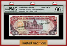 """TT PK 145s 1993 1000 PESOS ORO DOMINICAN REPUBLIC """"SPECIMEN"""" PMG 66 EPQ GEM UNC!"""