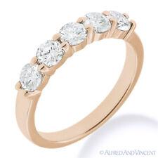 Round Cut Forever Brilliant Moissanite 14k Rose Gold 5-Stone Band Wedding Ring