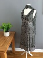 Per Una Embroidered Dress in Grey Mix With Matching Scarf UK 18 R Occasion
