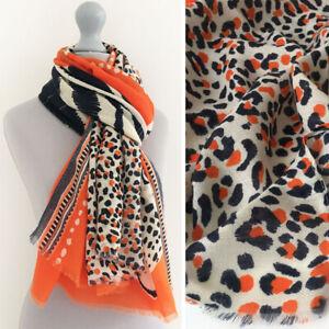Large Leopard Print Scarf Orange Animal Big Long Cotton Shawl Wrap Pashmina