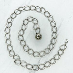 """Silver Tone Simple Ball Charm Belly Body Chain Link Belt One Size OS 36"""""""