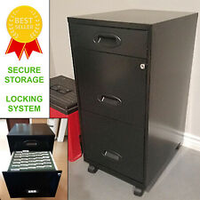 Filing Cabinet 3 Drawers Metal Safe Storage Rolling Locking File Organizer