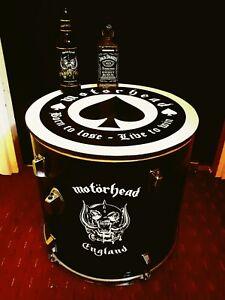 Upcycled MOTORHEAD Floor Tom Drum Coffee/Side Table with storage inside **