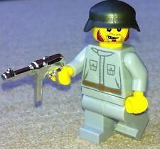 1 GERMAN soldier & CHROME MP 40 - custom figure built using LEGO parts RARE