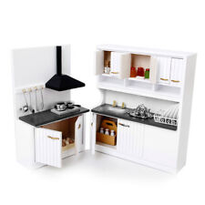 Luxury Wooden Miniature Kitchen Cabinet Cupboard Sink Set for 1/12 Dollhouse