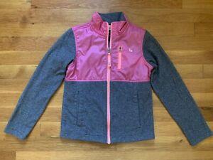 Northface Girls Jacket Sz S Small 7/8 Zip Up Gray Pink Light Jacket