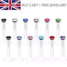 Bioflex Push In Labret Lip Helix Tragus Bar Crystal Gem - Choose Length - UK