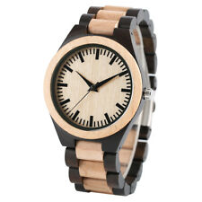 Men's Fashion Quartz Wooden Bamboo Wrist Watch Casual Wood Bracelet Clasp Gifts