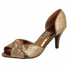 Ladies Anne Michelle Glitter Evening Shoes F10309 K Bronze UK 6 Standard