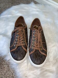 Michael Kors Boerum Brown Leather Sneakers MK Signature Shoes Women size 10