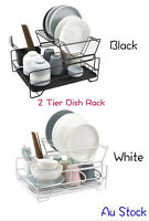 2 Tier Dish Rack Kitchen Drainer Drying Tray Cutlery Holder Organiser Au Stock