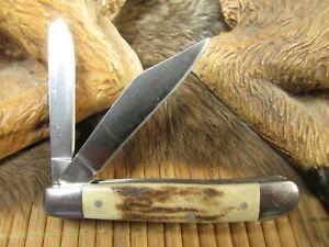 * GERBER 2007 (COLLECTORS EDITION) 2 BLADED POCKET KNIFE w STAG ANTLER HANDLES