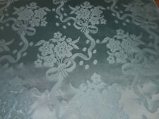 Vintage French Lyon Floral Dot Bow Bouquet Satin Damask Fabric ~ Aqua Green