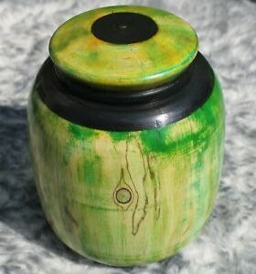 Hand Turned Wooden Pot With Lid - Handmade Dyed Green Natural Artisan British