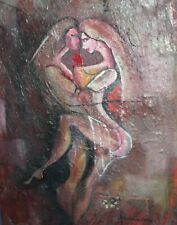 VINTAGE MODERNIST OIL PAINTING NUDE COUPLE SIGNED
