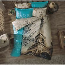 3D PARIS EIFFEL TOWER Double Queen 100% Cotton Duvet Quilt Cover Bed Set 4 Pcs