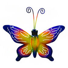 Fair Trade Purple and Yellow Metal Butterfly Wall Art