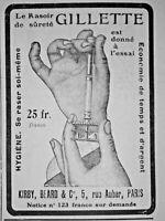 PUBLICITÉ DE PRESSE 1907 GILLETTE RASOIR DE SURETÉ SE RASER SOI-MÊME