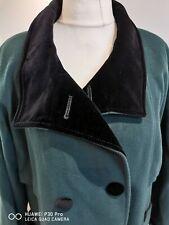 Vintage coat long UK 24 bottle green Luxury Cashmere &Wool velvet collar & cuffs