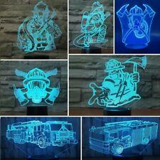 3D Fireman Car Night Light 7 Color Change LED Desk Lamp Touch Room Decor Gift