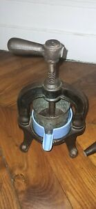 Beautiful French Antique Cast Iron And Enamel Duck Press