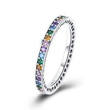 Arco Iris Y Blanco Con Amatista 925 Sterling Silver Anillo Banda Para Mujeres Niñas