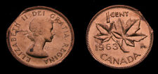 Canada 1963 One Cent Hanging 3 Straight Clip Error Clipped Planchet BU