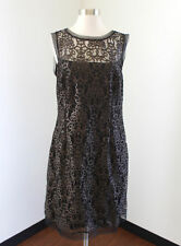 Julia Jordan Black Brown Mesh Lace Women's Cocktail Evening Dress Sleeveless 14