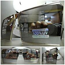 OVERSIZED VINTAGE RETRO SHIELD Style SUN GLASSES Silver Frame Chrome Mirror Lens