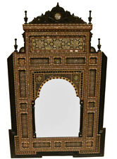 "40"" H Handcrafted Moroccan Mother of Pearl Inlaid Wood Wall Hanging Mirror Frame"