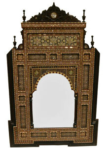 """40"""" H Handcrafted Moroccan Mother of Pearl Inlaid Wood Wall Hanging Mirror Frame"""
