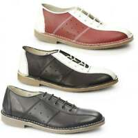 Ikon MARRIOTT Mens Casual Lace Up Genuine Leather Classic 60s MOD Bowling Shoes