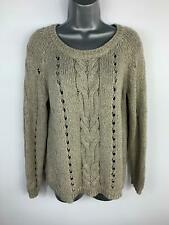 WOMENS OASIS GREY/GOLD KNIT LONG SLEEVE JUMPER SWEATER PULLOVER TOP SIZE S SMALL