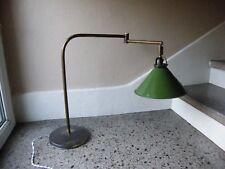 Lampe d'atelier en Laiton Abat jour en tôle émaillée 2 Bras 2 Rotules Années 30