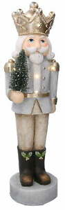 Soldatino Schiaccianoci in Resina 17x17xh63 cm con LED Adami Decorazione Grigio