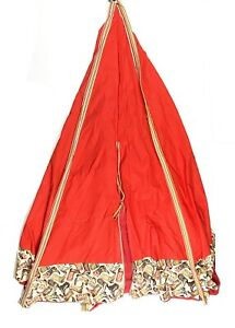 Custom Made Canvas Teepee Tent Cover Red Western Cowboy Childrens Room Decor