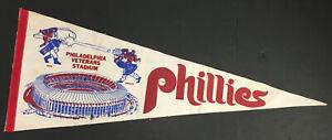 """1970s Philadelphia Veterans Stadium Pennant Phillies Vintage MLB Baseball 28.5"""""""
