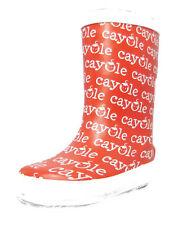 Girls Infants Red White Wellies Wellington Flat Snow Rain Waterproof Boots 6 - 8