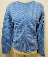 Women's Karen Scott Sport Zip Front Cardigan Sweater size L Blue