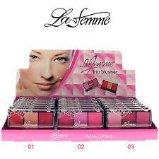 La Femme Large Trio Blusher Palette - 3 in 1 Pressed Powder Blush with Brush Set