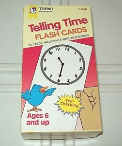 Trend Telling Time Flash Cards 91 Cards Including 5-Minute Intervals Ages 6+