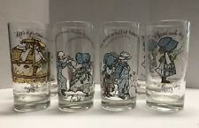 HOLLY HOBBIE American Greetings GLASSES Lot of 8 (1973) - GREAT CONDITION
