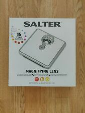 Salter 484 WHDR Mechanical Bathroom Scale with Magnifying Lens - White