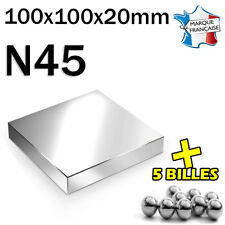 SUPER AIMANT MAGNET NEODYM N45 - 100x100x20mm - 500Kg + 5 MINI BILLES